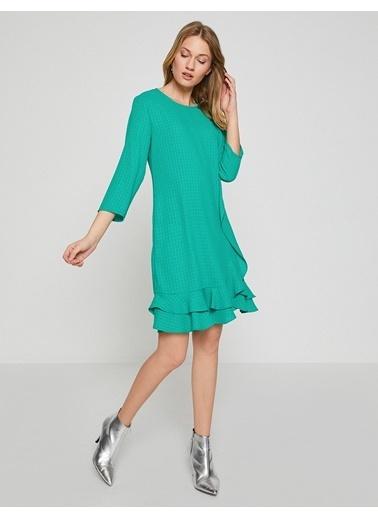 Koton Volanlı Kısa Elbise Yeşil